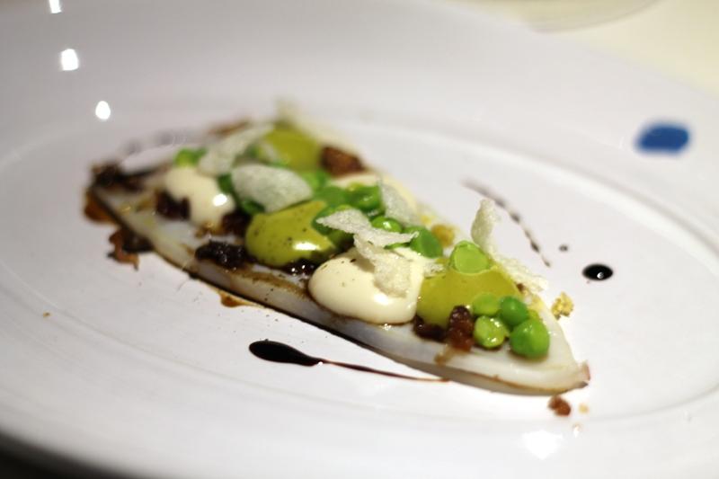calamaro piselli e guanciale, Aqua Crua, chef Baldessari, Barbarano Vicentino