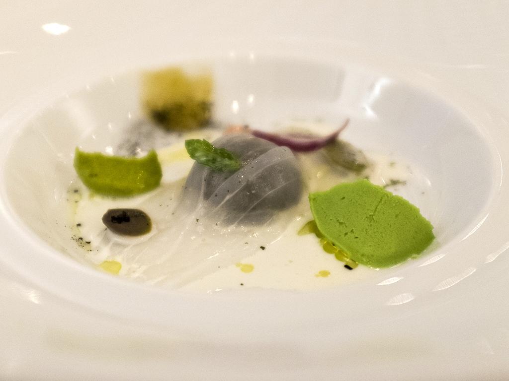 finto raviolo di seppia, Il Luogo di Aimo e Nadia, Chef Negrini, Pisani, Milano
