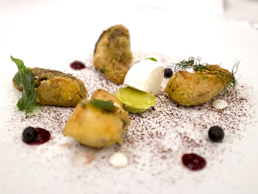 fungo porcino in panure, Il Luogo di Aimo e Nadia, Chef Negrini, Pisani, Milano