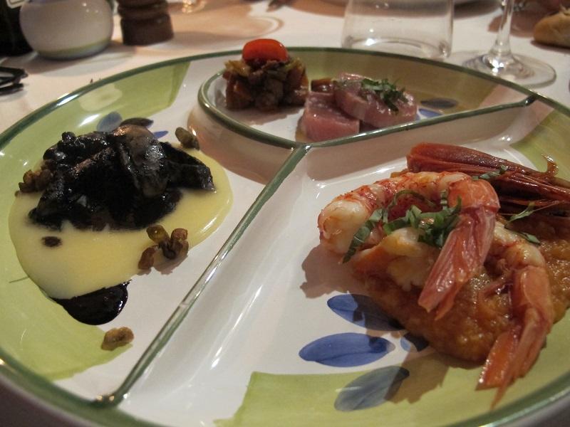 Antipasto di pesce caldo, Oste Scuro, Chef Simone Lugoboni, Verona