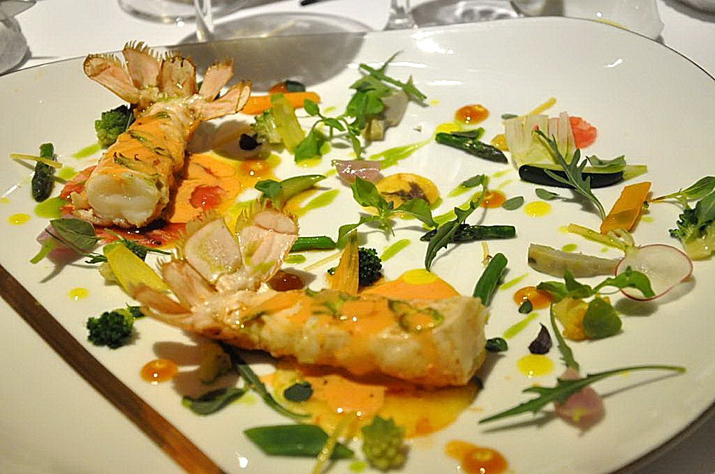 giardino e scampi, La Vague d'Or, Chef Arnaud Donckele, Saint-Tropez