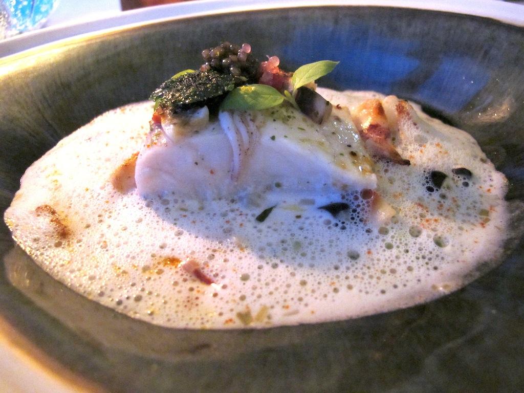 Branzino cotto con alghe, La Vague d'Or, Chef Arnaud Donckele, Saint-Tropez