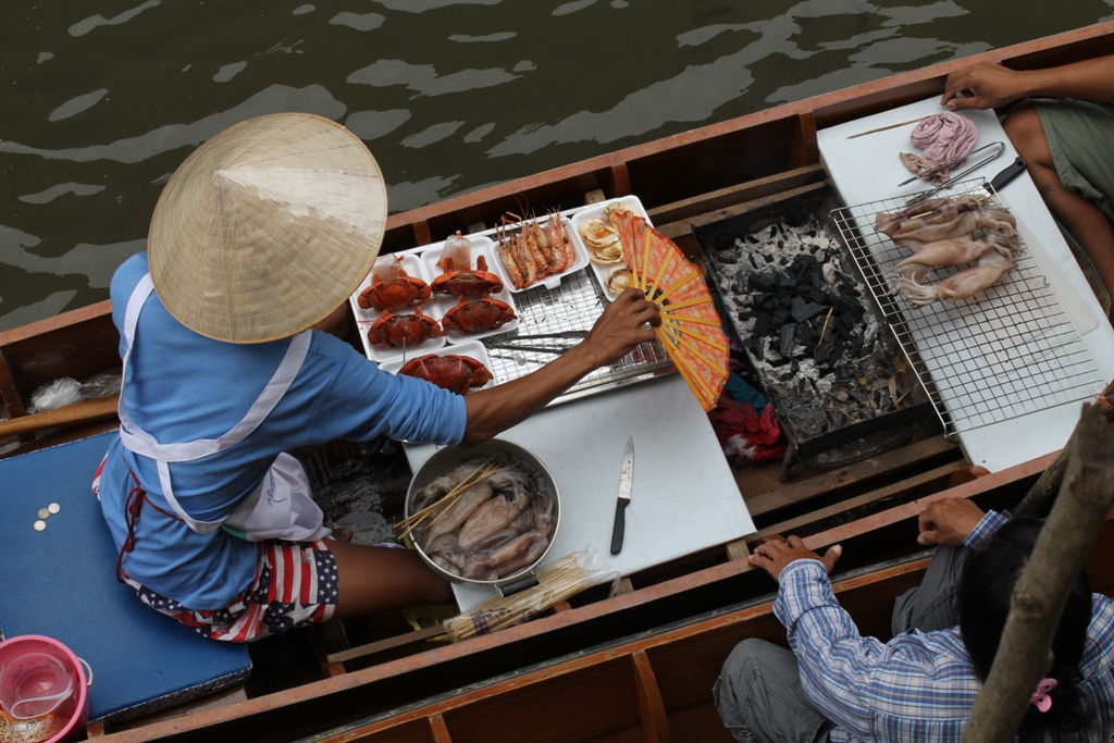 river food, braciere, Thai Street Food, Thailandia, Bangkok