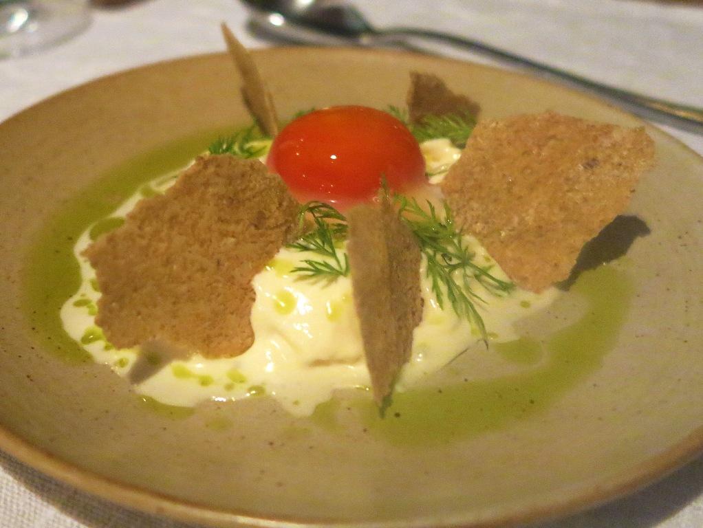 latte, erbe e tuorlo candito, 28 Posti, Chef Marco Ambrosino, Milano