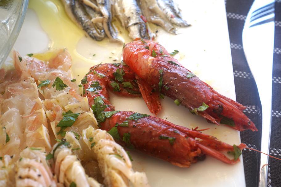 gamberi rossi e scampi, Trattoria da Carmelo, Marina di Ragusa