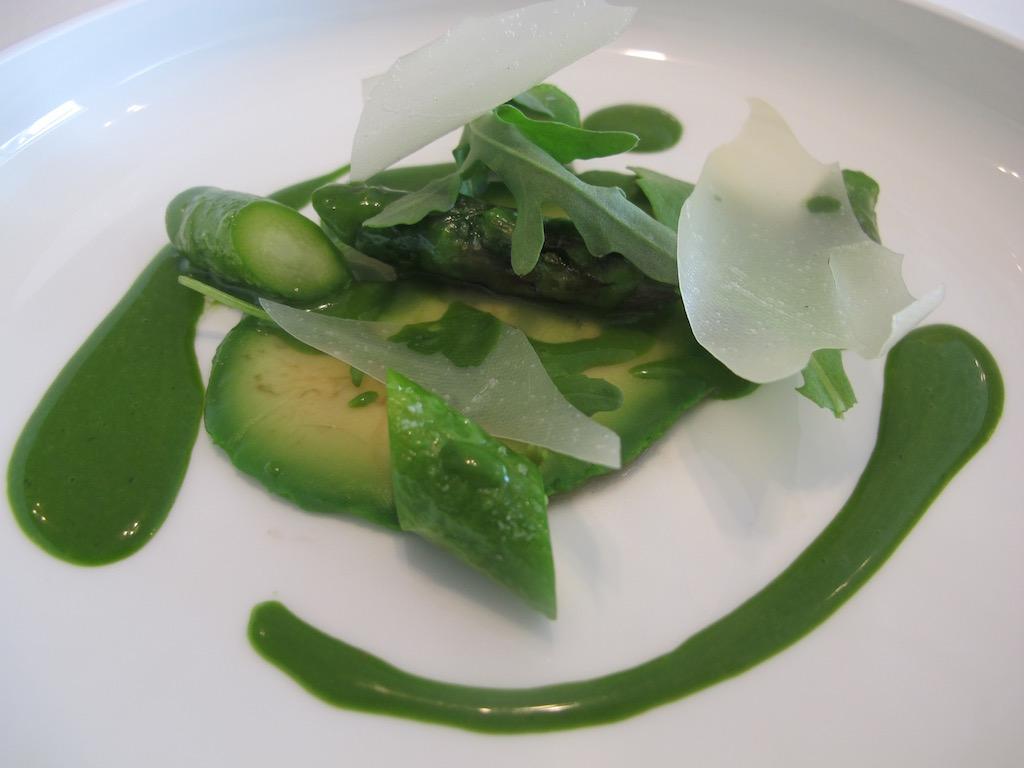 asparagi, avocado, Nerua, Chef Josean Alija, Bilbao, Spagna