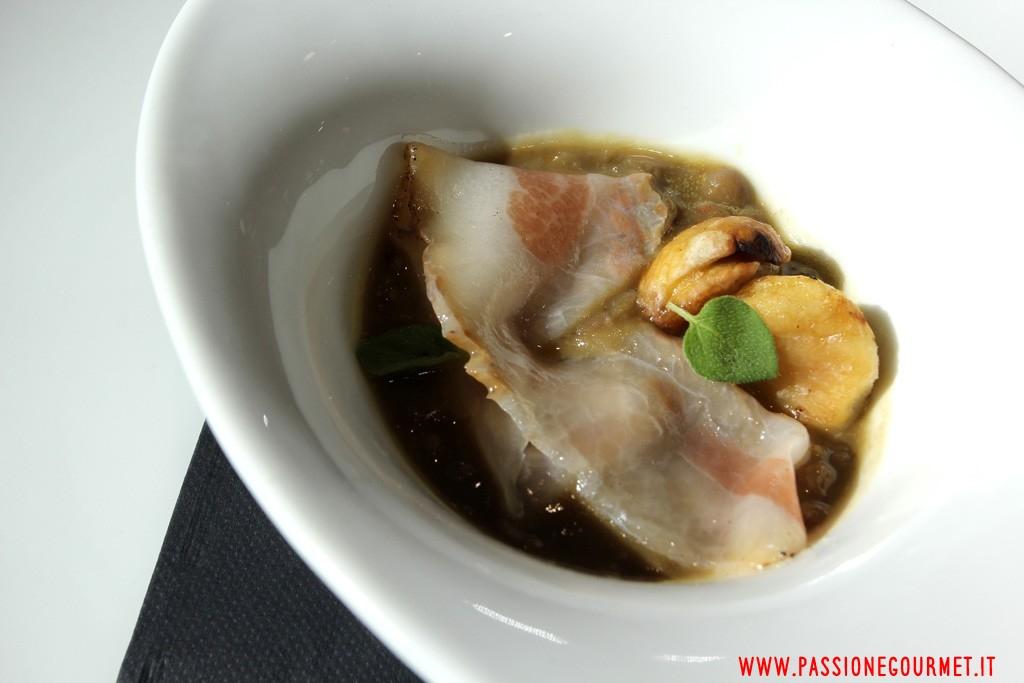 Degusta: zuppetta di lenticchie, lardo di Andretta, castagne di Montella, olio EVO all'alloro