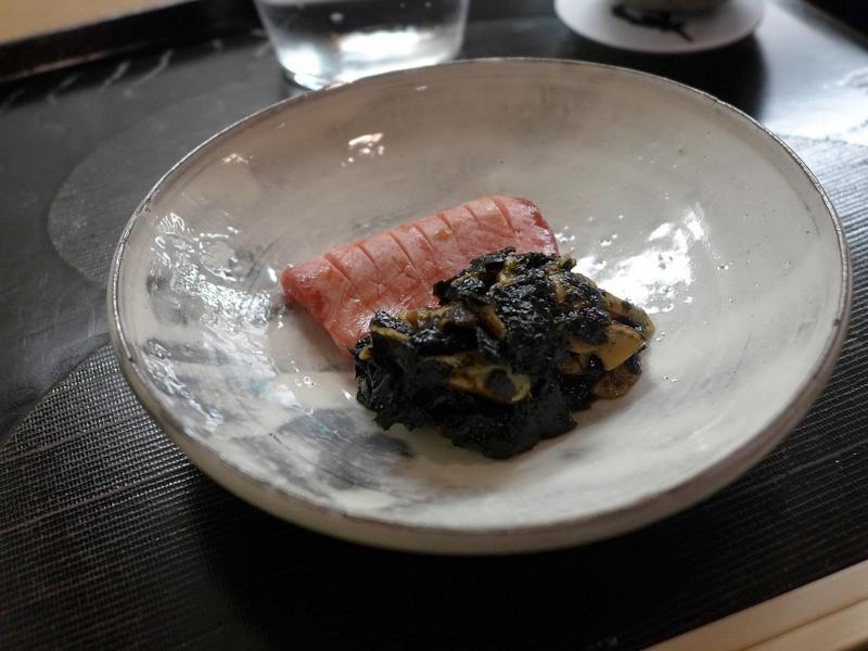 sashimi di lingua, Isshin, Chef Hideichi Katagiri, Kyoto, Giappone