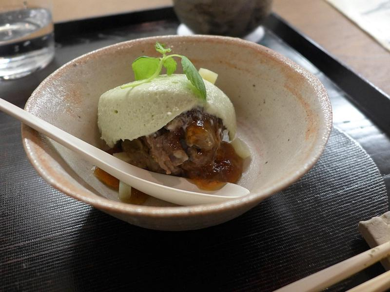 mousse di fagioli, Isshin, Chef Hideichi Katagiri, Kyoto, Giappone