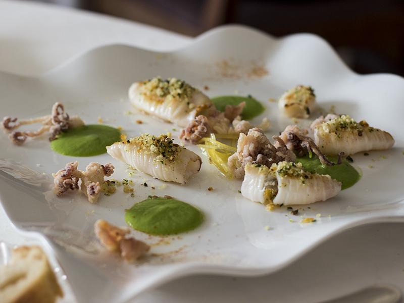 calamari gratinati, La Ciau del Tornavento, Chef Maurilio Garola, Treiso,Cuneo