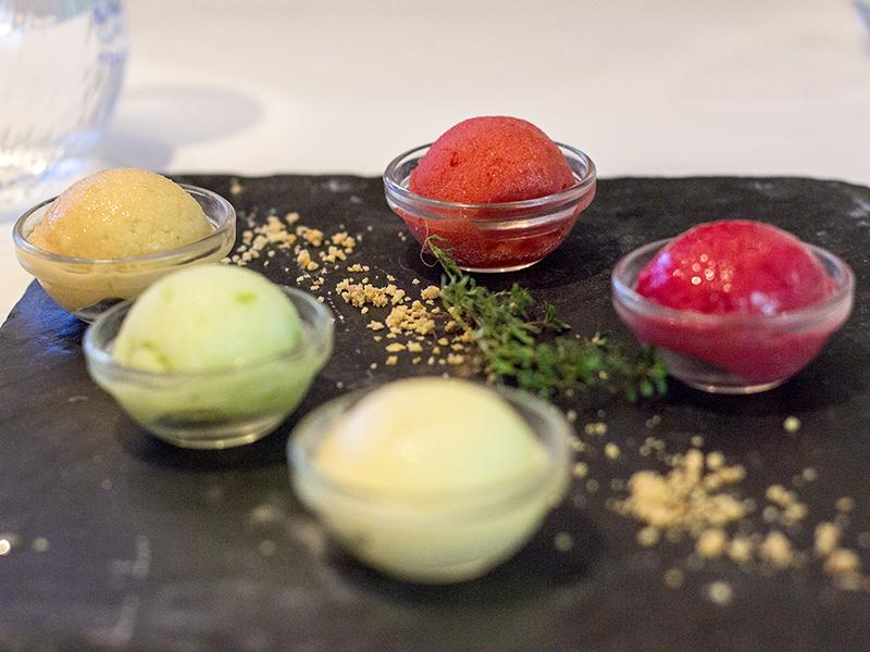 sorbetti, La Ciau del Tornavento, Chef Maurilio Garola, Treiso,Cuneo