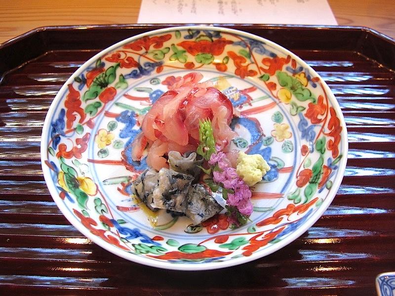 sashimi, Soba Ryuheisoba, Kyoto, Giappone