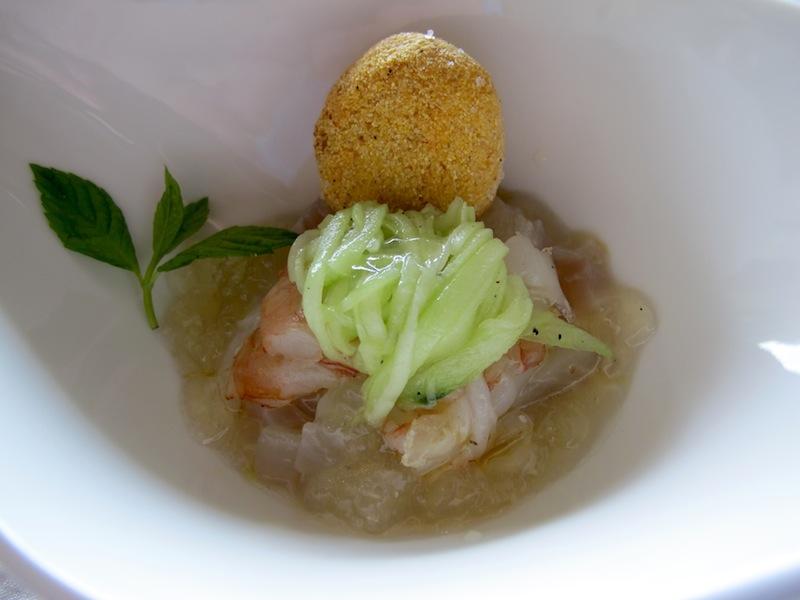 crudo di gamberi e gelatina al mojito, Spinechile Resort, Chef Corrado Fasolato, Schio