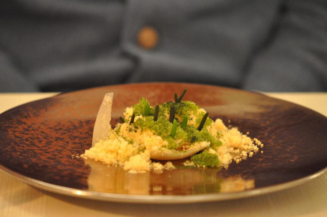 fondale marino, spuma di zucchine menta, salmone affumicato,  El Coq, Chef Lorenzo Cogo, Marano Vicentino