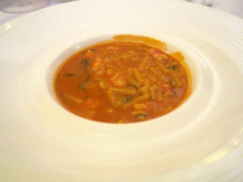 minestra di gamberi, La Madia, chef Pino Cuttaia, Licata, Sicilia
