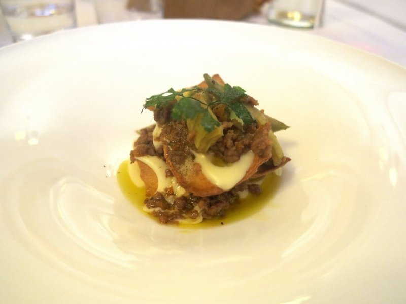 lasagna croccante, La Madia, chef Pino Cuttaia, Licata, Sicilia