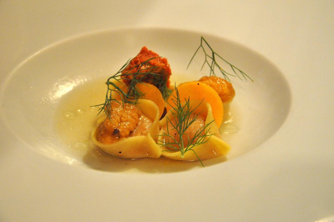 ravioli di zucca e ricci di mare, Rino, Chef Giovanni Passerini, Parigi