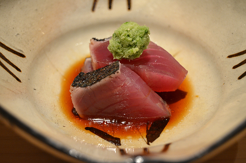 bonito affumicato, Sushi Yoshitake, Matsuhiro Yoshitake, Tokyo, Japan