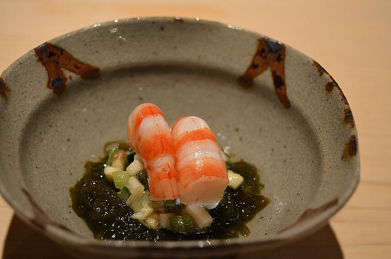 gamberi alga di mare, Sushi Yoshitake, Matsuhiro Yoshitake, Tokyo, Japan