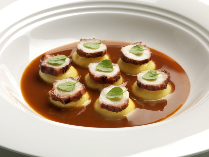 bottoni di olio e lime con polpo, Devero, Chef Enrico Bartolini, Cavenago, Monza, Brianza