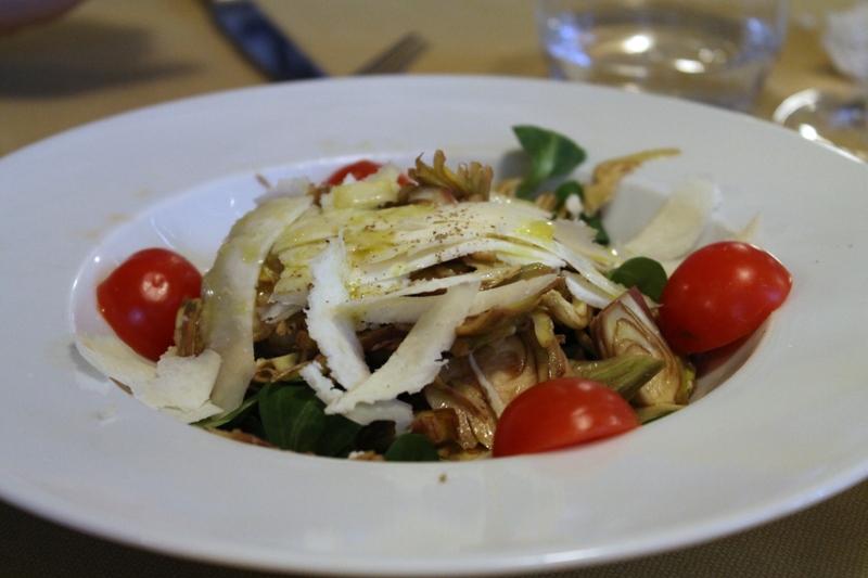 insalata di carciofi e castelmagno, Antica Trattoria del Gallo, Chef Reina, Gaggiano, Milano