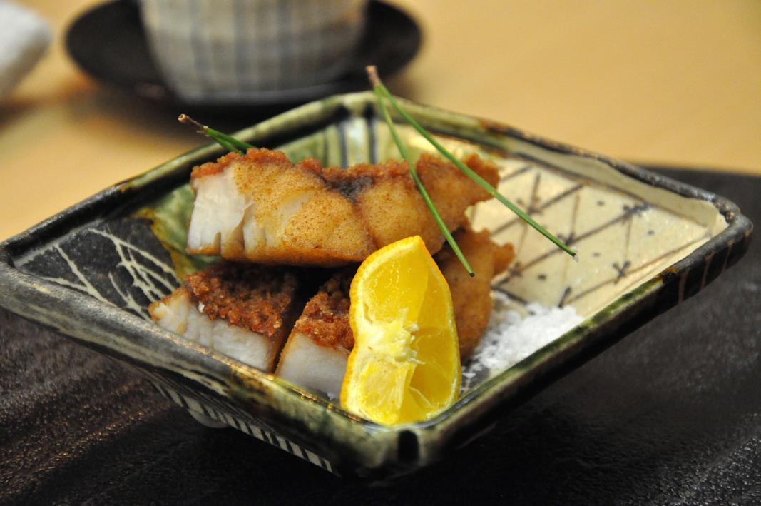 merluzzo con leggera panatura, Okuda, Chef Shun Miyahara, Parigi