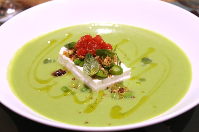 Crema di piselli Burrata e fave, LadyBù, Chef Riccardo Orfino, Milano