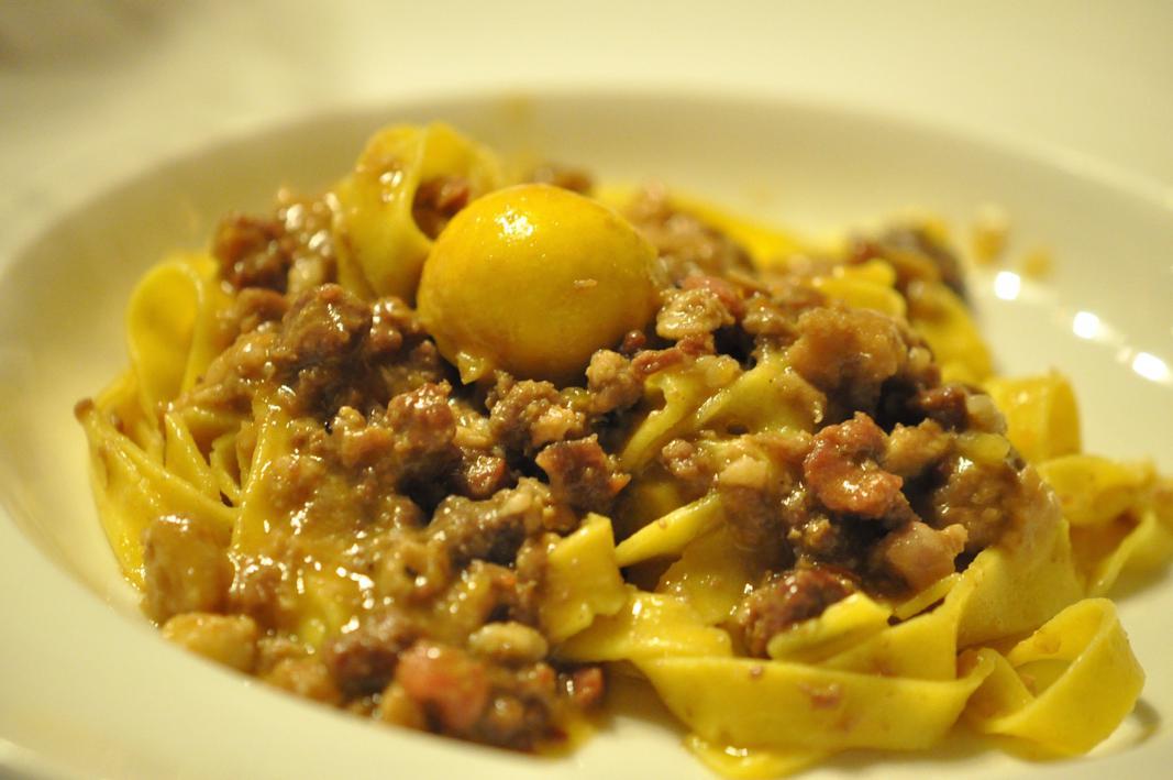 tagliatelle all'antico ragù di cortile, Antica Osteria del Mirasole, Chef Franco Cimini, San Giovanni in Persiceto, Bologna