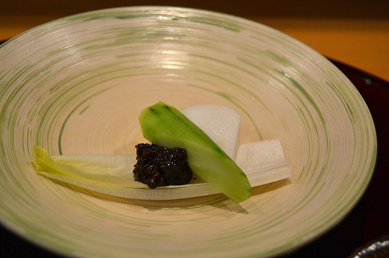 indivia con pasta di soia, Taian, Chef Hitoshi Takahata, Osaka, Japan