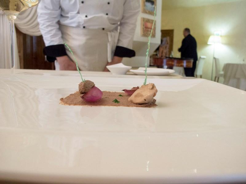 Fegato di cipolle, Il Tiglio, Chef Enrico Mazzaroni, Montemonaco, Marche