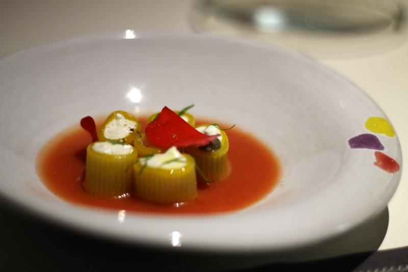 mezzemaniche allo zafferano con burrata, Aqua Crua, chef Baldessari, Barbarano Vicentino
