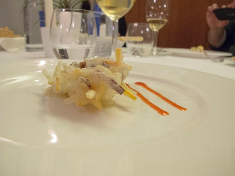 mazzancolla in tempura, Due Cigni, Chef Rosaria Morganti, Montecosaro, Macerata