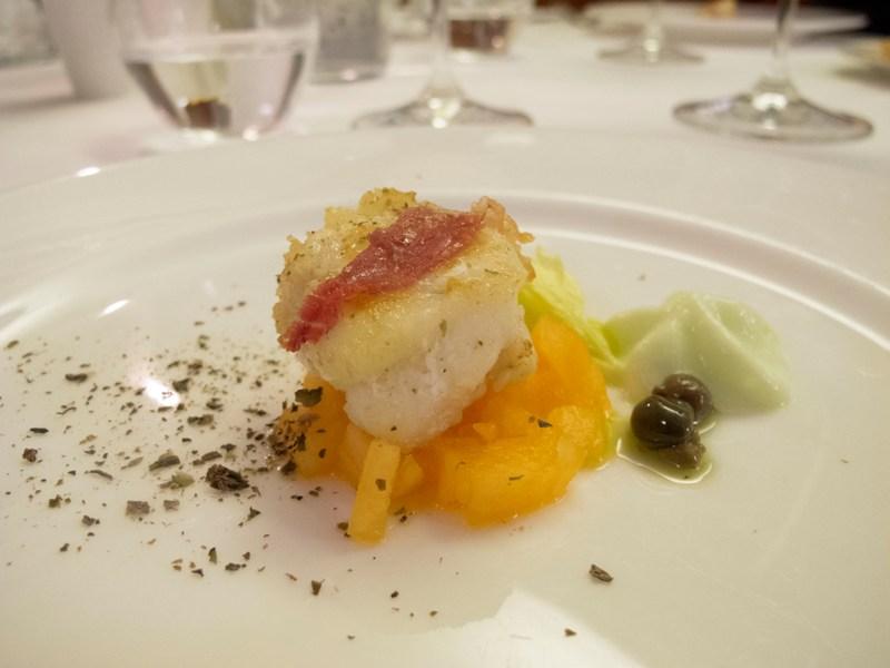 rana pescatrice con melone e sedano, Due Cigni, Chef Rosaria Morganti, Montecosaro, Macerata