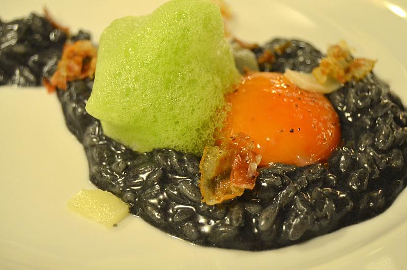 risotto al carbone, Arquade, Hotel Villa del Quar, Chef Del Degan, Quar