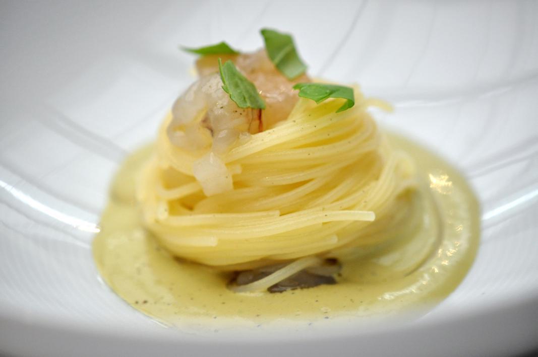 Spaghettino freddo con mazzancolla, Antica Osteria Cera, Chef Cera, Campagna Lupia