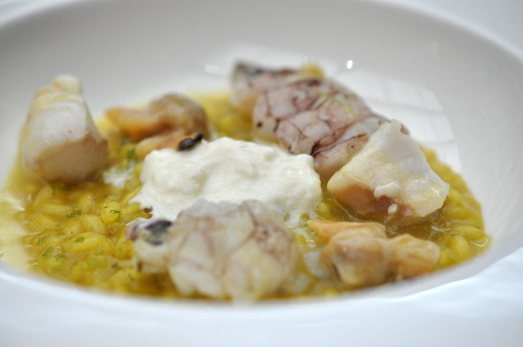 Risotto di Canocchie e curcuma, Antica Osteria Cera, Chef Cera, Campagna Lupia