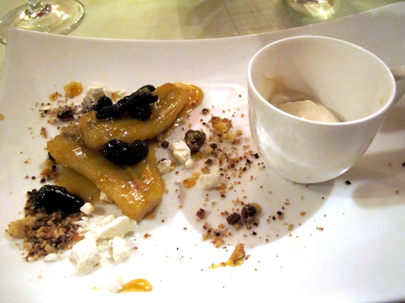 banana con spugnole e meringa, Enoteca al Parlamento, chef Massimo Viglietti, Roma