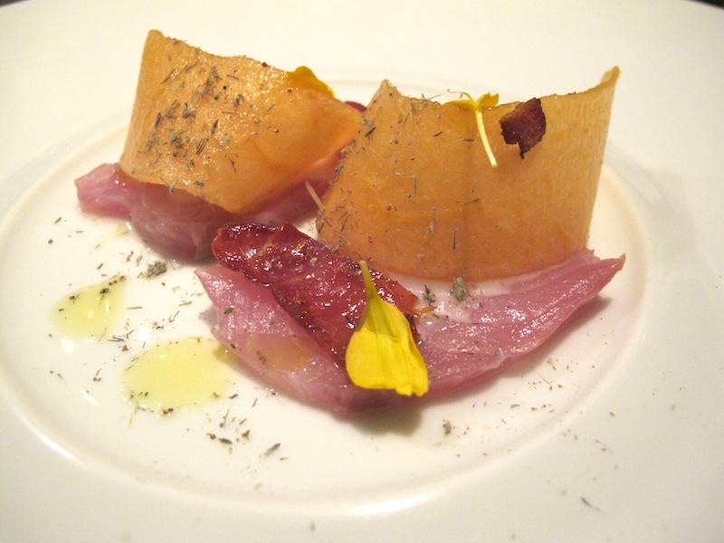 Ricciola prosciutto melone e lavanda, Ristorante Settembrini, Chef Delmonte, Roma