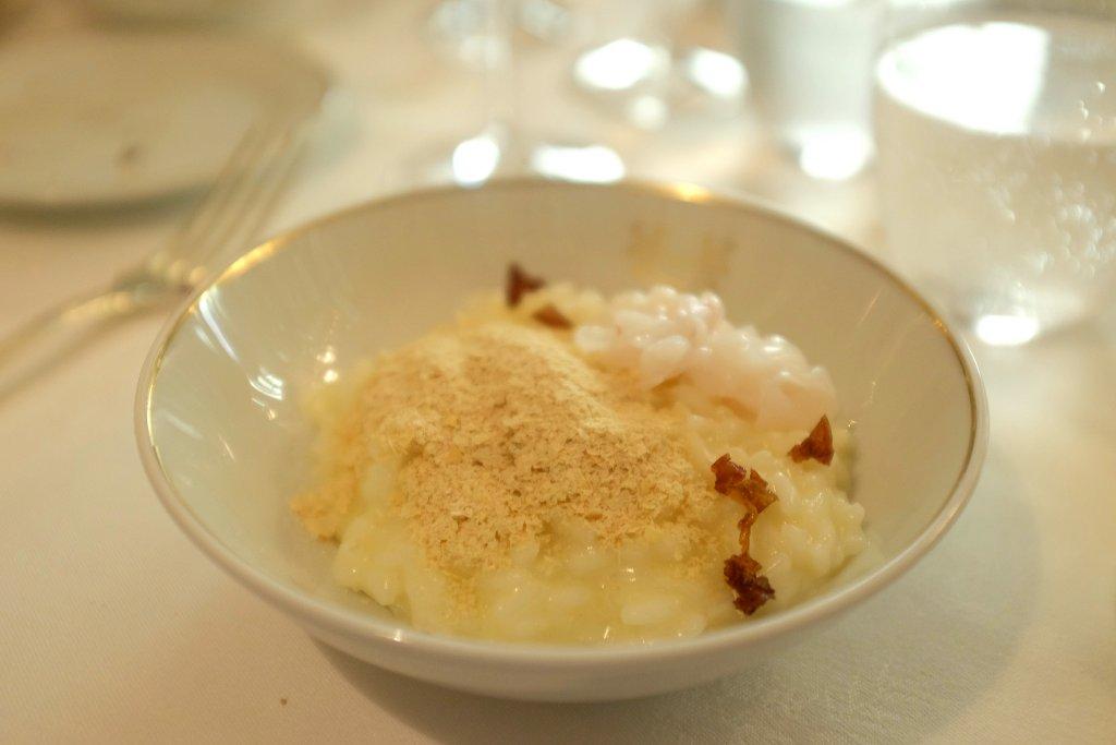 riso lievito e calamaretti, Del Cambio, chef Matteo Baronetto, Torino