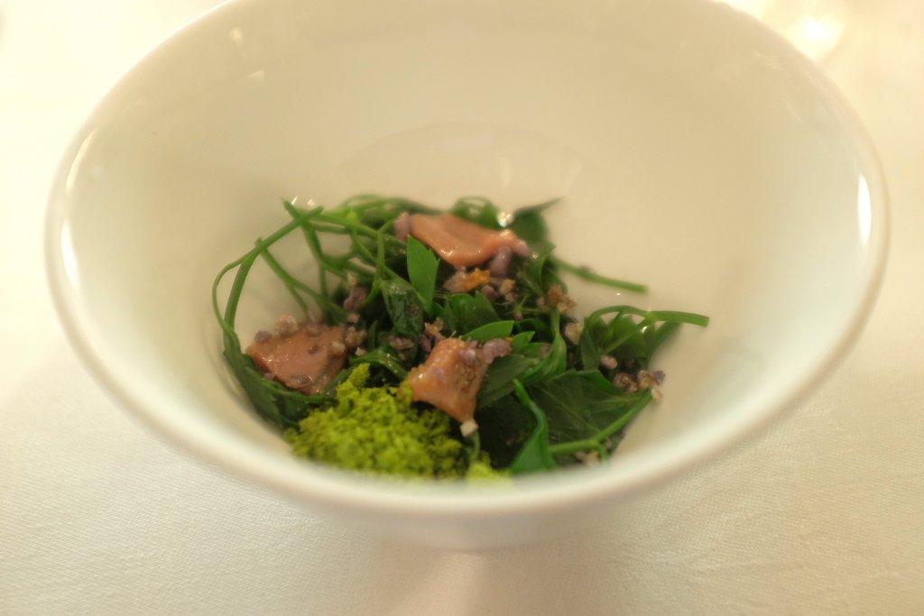insalata di prezzemolo, acciughe e violette, Del Cambio, chef Matteo Baronetto, Torino