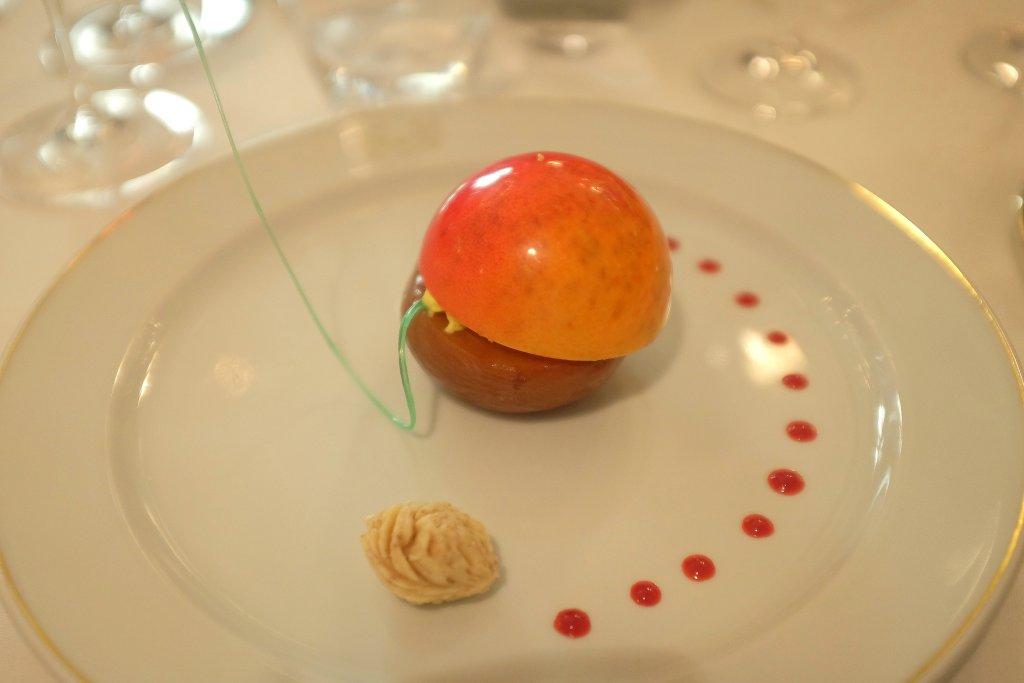 ottima pesca melba, Del Cambio, chef Matteo Baronetto, Torino