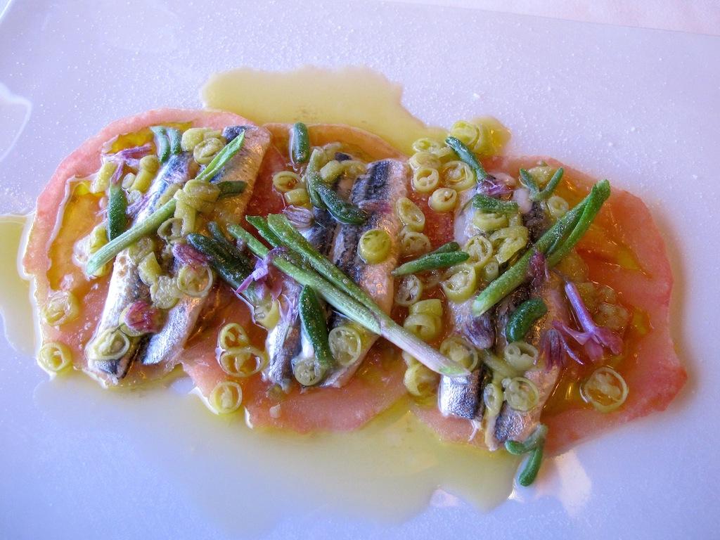 Acciughe del cantabrico, Akelarre, Chef Pedro Subijana, San Sebastián, Spagna