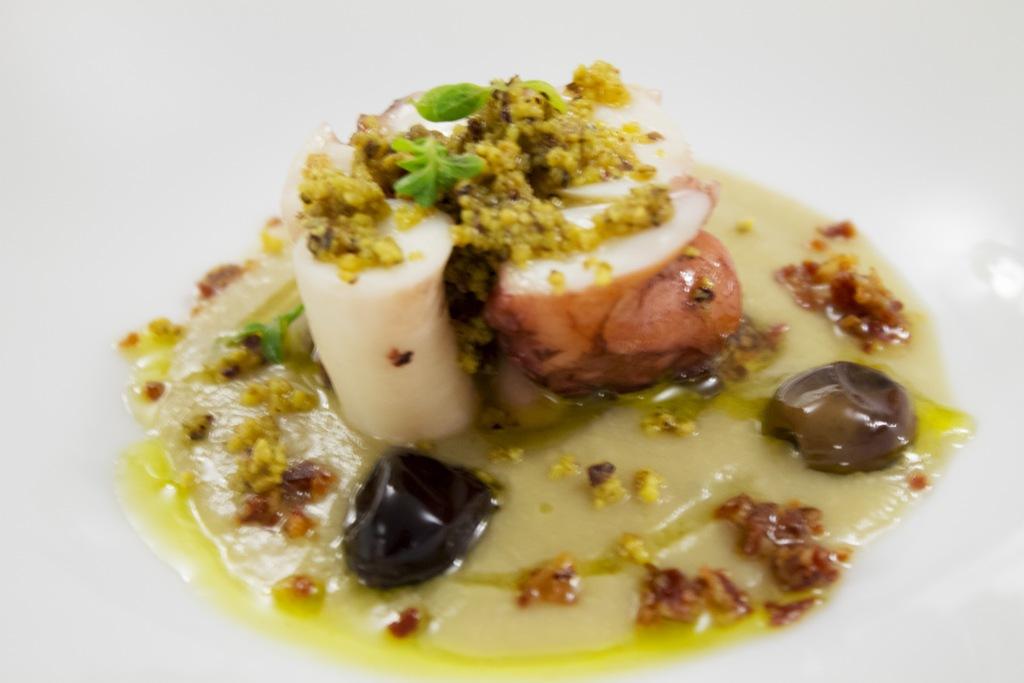 polpo al pistacchio su crema di ceci, Porta del Vaglio, Chef Gennaro Di Pace, Saracena, Cosenza