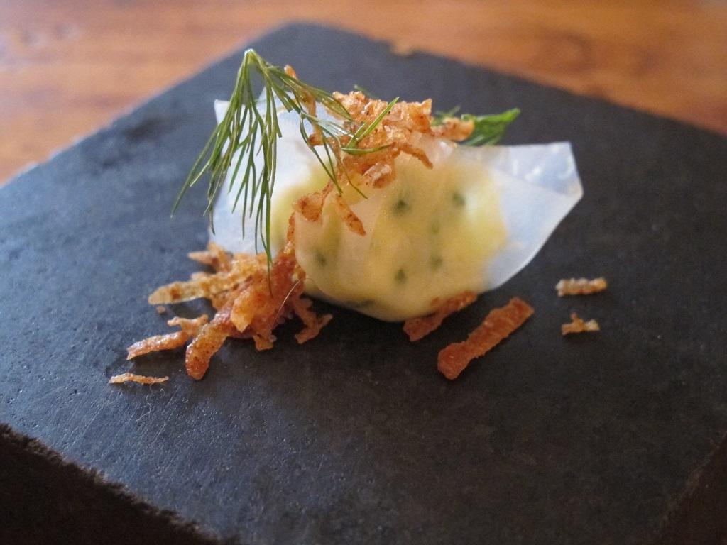 velo di sedano rapa ripieno di formaggio, The Dairy, Chef Robin Gill, London