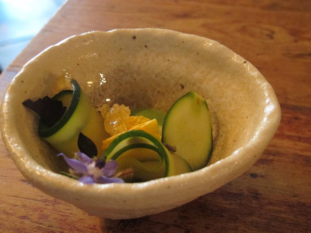cetrioli, zucchine, basilico, miele, The Dairy, Chef Robin Gill, London