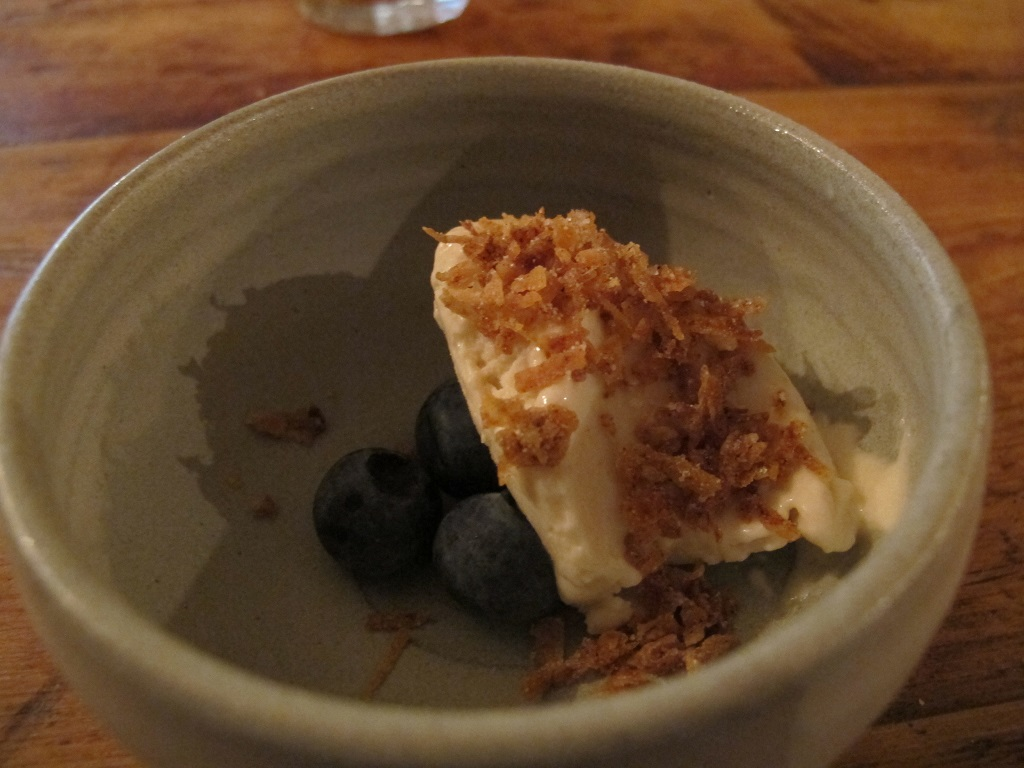 mirtilli e gelato alla patata, The Dairy, Chef Robin Gill, London