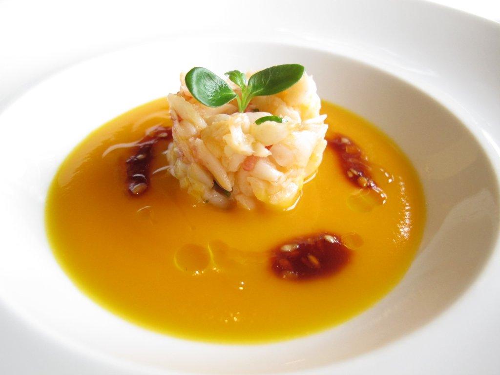 Crema di zucca e tartare di astice, Chef Beppe Maffioli, Carlo Magno, Collebeato, Brescia
