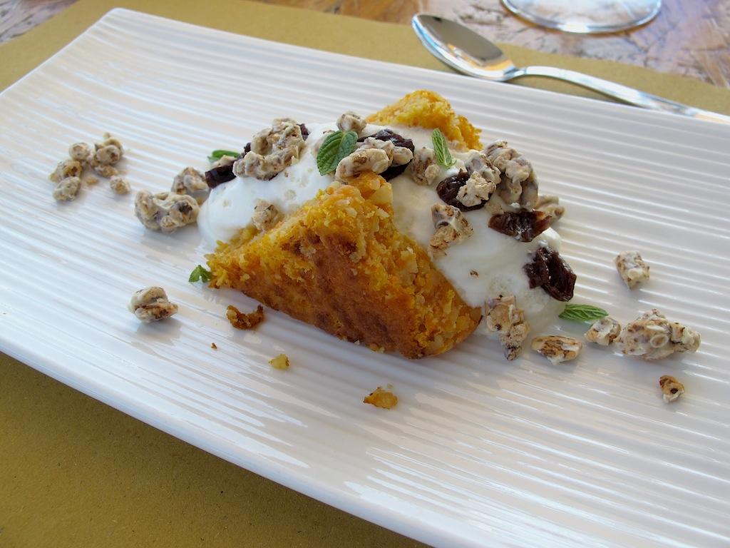 tortino di carote e mandorle,  Ittiturismo Fradis Minoris, Chef Manuele Senis, Pula, Cagliar