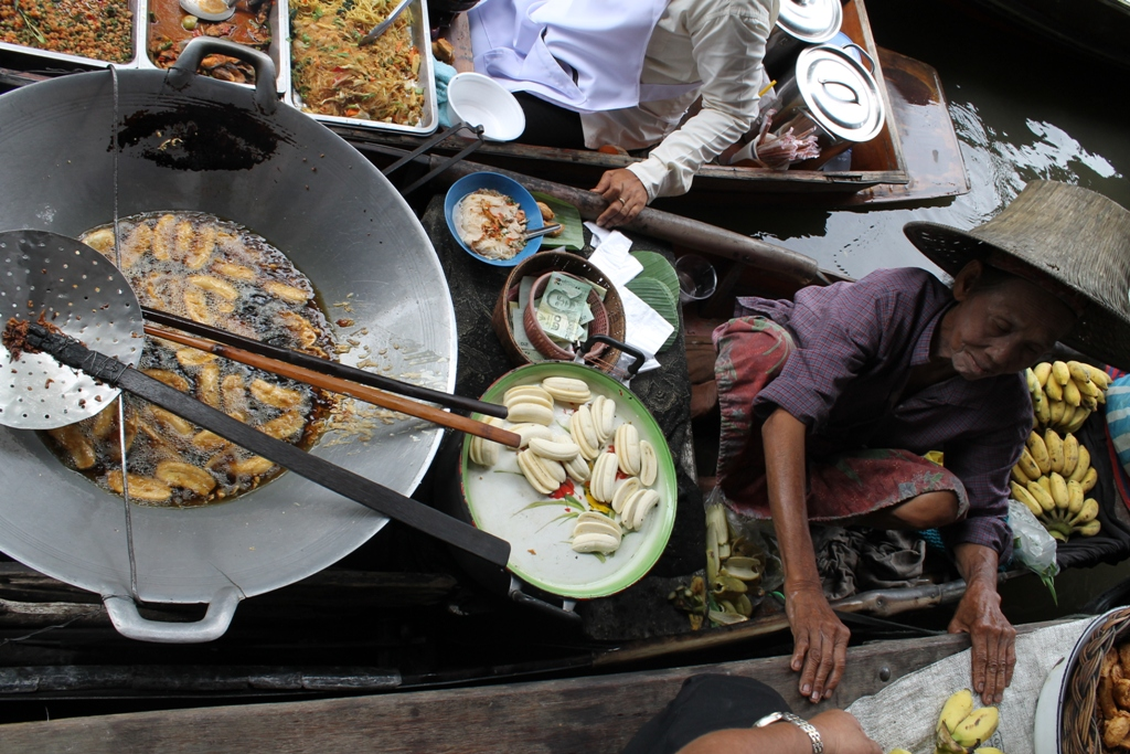 banane fritte, Thai Street Food, Thailandia, Bangkok