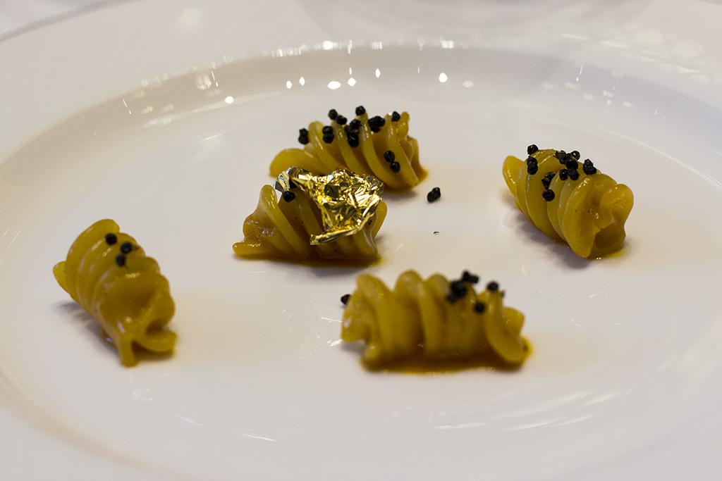 fusillo oro, Palazzo Parigi, Chef Luigi Taglienti, Milano